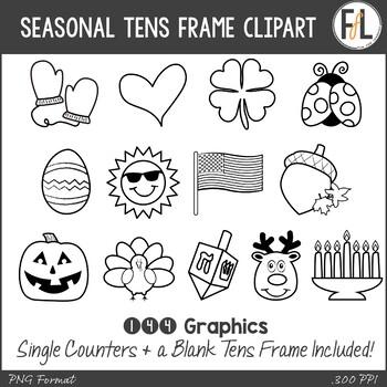 Seasonal & Holiday Tens Frames Clipart {BLACKLINE Version}