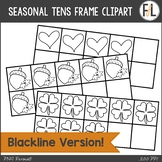 Seasonal & Holiday Tens Frames Clipart {BLACKLINE Version}
