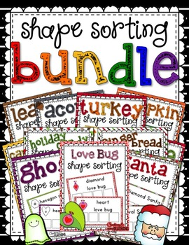 Seasonal & Holiday Themed Shape Sorting Bundle