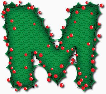 "Seasonal  Holly Alphabet 92 pcs - 4"" High, 150 DPI PNG & PDF Vector"