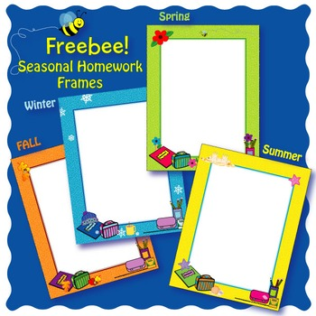 Seasonal Homework Frames Freebee