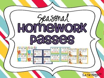 Seasonal Homework Passes: Spring, Summer, Fall, Winter