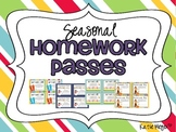 Seasonal Homework Passes: Spring, Summer, Fall, Winter