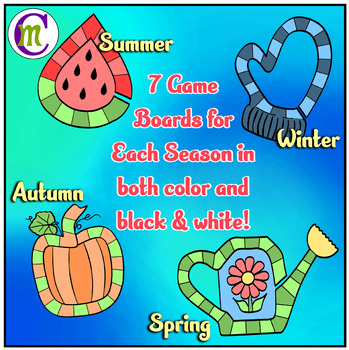 Seasonal Icons Game Board Clip Art BUNDLE CM
