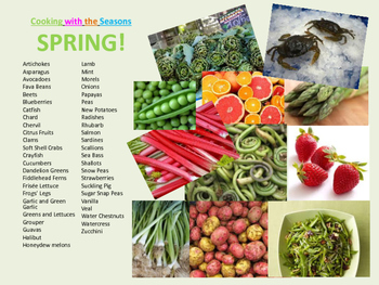 Seasonal Ingredient Charts for Classroom Decor or Use with Culinary Arts Lessons
