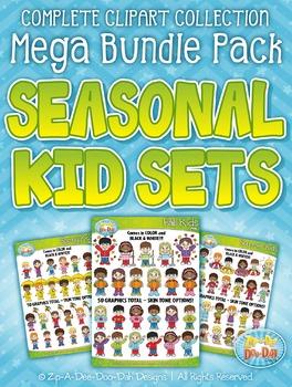 Seasonal Kid Characters Clipart Mega Bundle {Zip-A-Dee-Doo-Dah Designs}