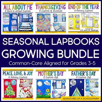 Seasonal Lapbooks Growing Bundle for 3rd, 4th, 5th grades