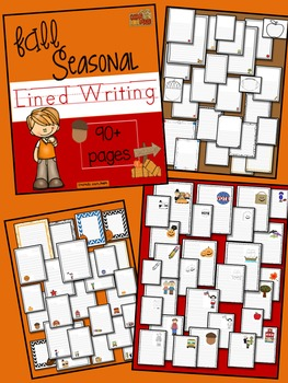 Seasonal Lined Writing Paper Winter, Spring, Summer, and Fall BUNDLE