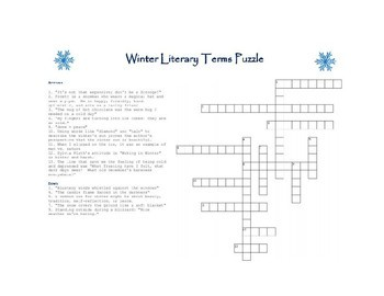 Literary Terms Crossword Puzzle Teaching Resources Teachers Pay