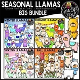 Seasonal Llamas Clip Art Big Bundle {Educlips Clipart}