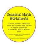 Seasonal Math Addition Worksheets