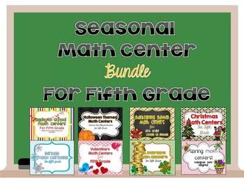 Seasonal Math Center Bundle for Fifth Grade