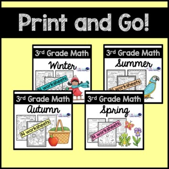 Seasonal Math Worksheets for the Whole Year 3rd Grade Common Core Bundle
