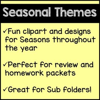 Seasonal Math Worksheets for the Whole Year 4th Grade Common Core Bundle
