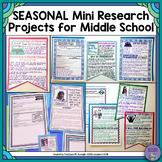 Seasonal Mini-Research Projects for Middle School Bundle