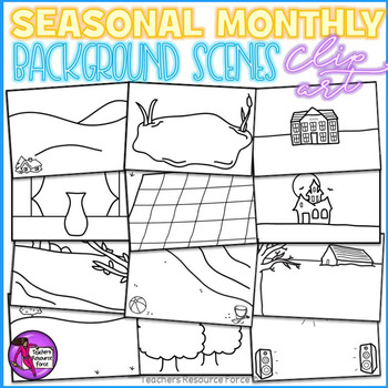 Seasonal / Monthly background scenes - black line clipart