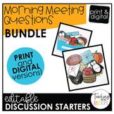 Editable Seasonal Morning Meeting Question Cards Bundle