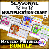 Seasonal Multiplication Facts 1-12 Mystery Pictures BUNDLE