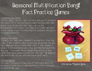 Seasonal Multiplication Facts Practice Bang! Games