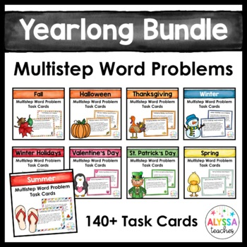 Seasonal Multistep Word Problem Task Cards Bundle