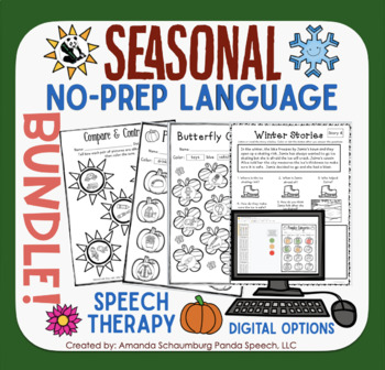 Seasonal NO-PREP Language BUNDLE! Fall Winter & Spring