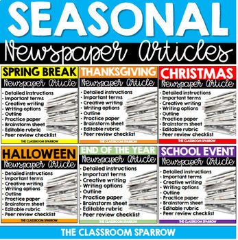 Seasonal Newspaper Article Bundle (peer review, template, & editable rubric!)