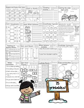 Seasonal No-Prep Math and Literacy Printables: 1st Grade Bundle
