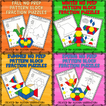 Seasons Pattern Block Fraction Puzzle Bundle