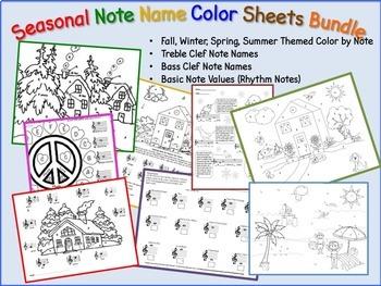 Music - Seasonal Note Names Color Sheets Bundle