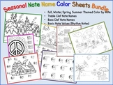 Music - Seasonal Note Names Color Sheets Bundle