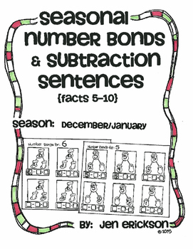 Seasonal Number Bond and Subtraction Sentences: DECEMBER/JANUARY