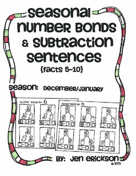 Seasonal Number Bond and Subtraction Sentences: DECEMBER/JANUARY