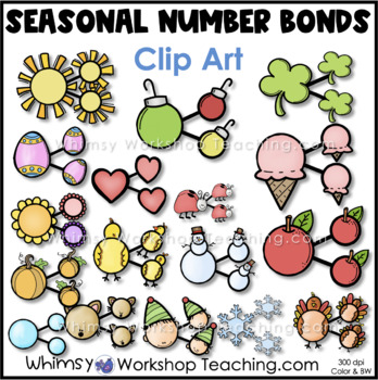 Seasonal Number Bonds Clip Art Templates - Whimsy Workshop Teaching