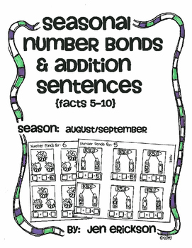 Seasonal Number Bonds and Addition Sentences:  AUGUST/SEPTEMBER