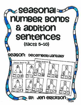 Seasonal Number Bonds and Addition Sentences:  DECEMBER/JANUARY
