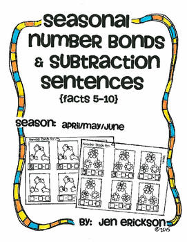 Seasonal Number Bonds and Subtraction Sentences:  APRIL/MAY/JUNE