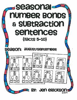 Seasonal Number Bonds and Subtraction Sentences:  AUGUST/S