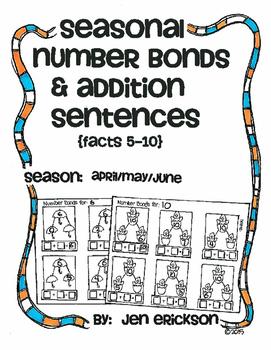 Seasonal Number Bonds and Addition Sentences:  APRIL/MAY/JUNE