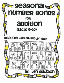 Seasonal Number Bonds for Addition:  AUGUST/SEPTEMBER