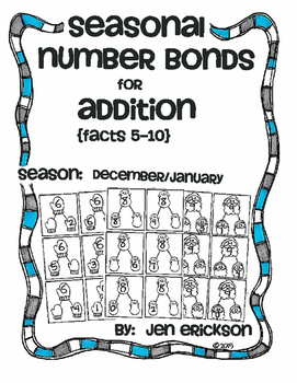 Seasonal Number Bonds for Addition:  DECEMBER/JANUARY