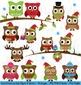 Seasonal Owl Bundle! Seasonal Owl Clip Art Clipart - Commercial Use Allowed