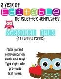 Editable Newsletter Templates (13 included): Seasonal Owl Theme