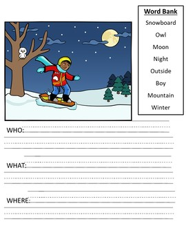 Seasonal Picture Scenes - Writing and WH Questions Practice