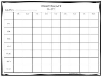 Seasonal Positional Words - Preposition Freebie