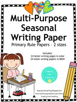 Seasonal Primary Writing Papers