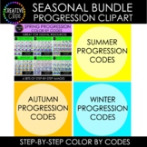 Seasonal Progression Color By Code Clipart Bundle