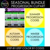 Seasonal Progression Color By Code Clipart Bundle