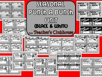 Seasonal Punch A Bunch Unit (Black and White) from Teacher