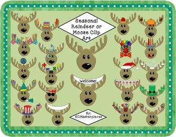 Seasonal Reindeer / Moose Clip Art