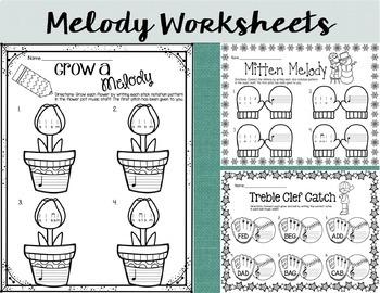 Seasonal Rhythm and Melody Worksheets {4-Set Bundle}